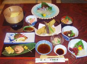 4800円コース前菜刺身焼き物酢の物揚げ物(天ぷら)煮物ご飯物デザート